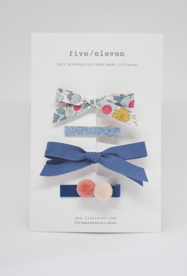 Five/Eleven Set of 4 Colour Hair Clips in blue