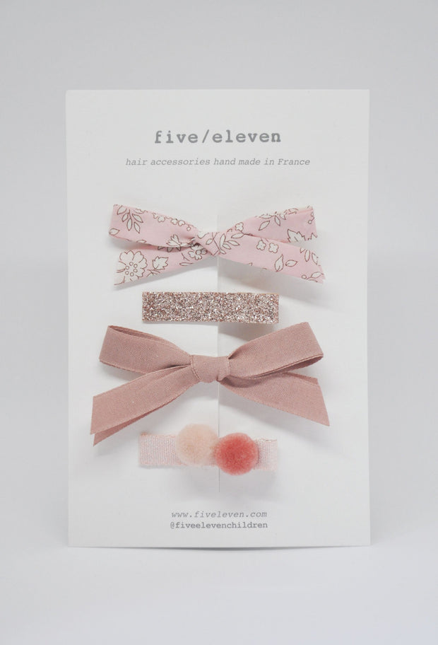 Five/Eleven Set of 4 Colour Hair Clips in blush pink