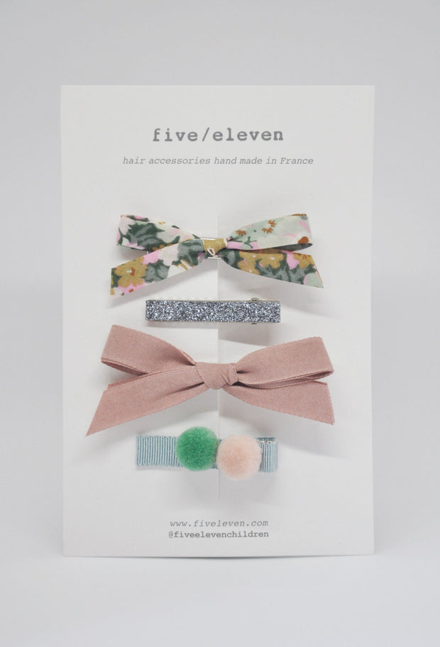 Five/Eleven Set of 4 Colour Hair Clips in moss green