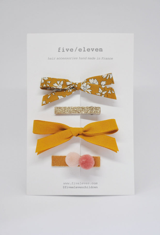 Five/Eleven Set of 4 Colour Hair Clips in mustard yellow