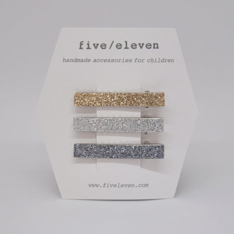Five/Eleven Set of 3 Glitter Hair Clips for girls