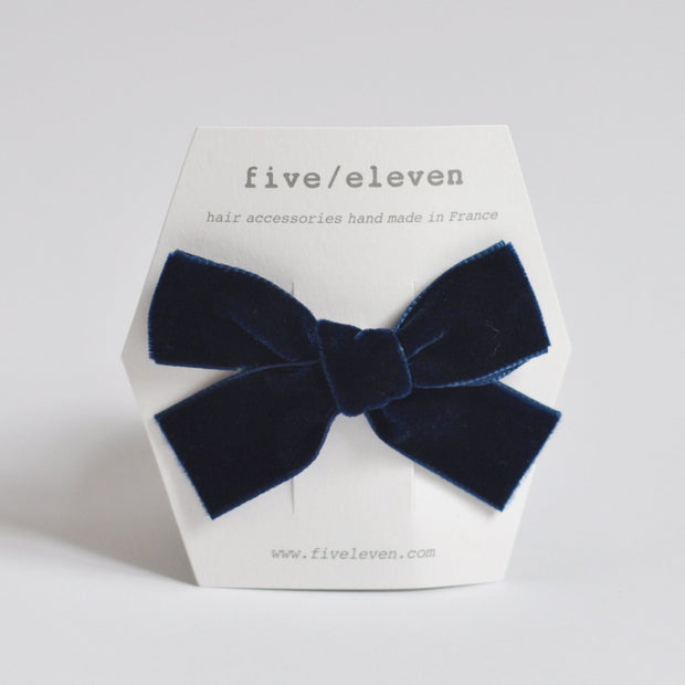 five eleven navy velour hair clip with bow for girls