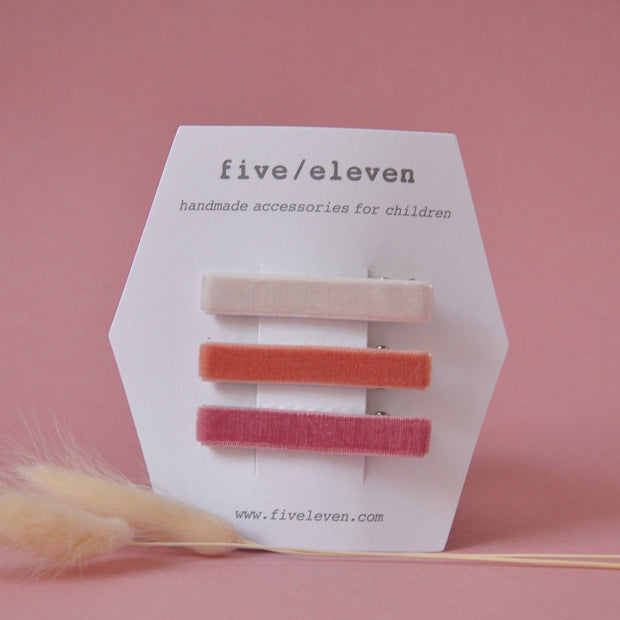 Five/Eleven Set of 3 Velvet Hair Clips in pinks for girls