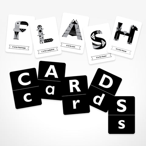 THE JAM TART double sided Animal Alphabet Black and White Flash Cards
