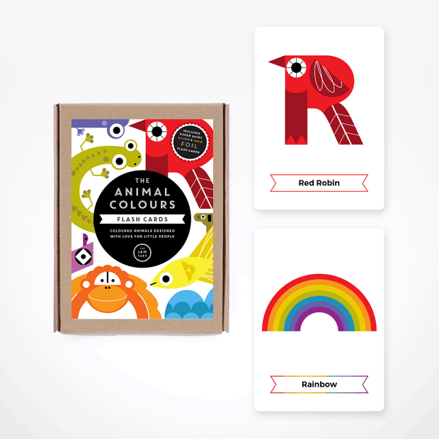 THE JAM TART double sided Animal Colours Flash Cards