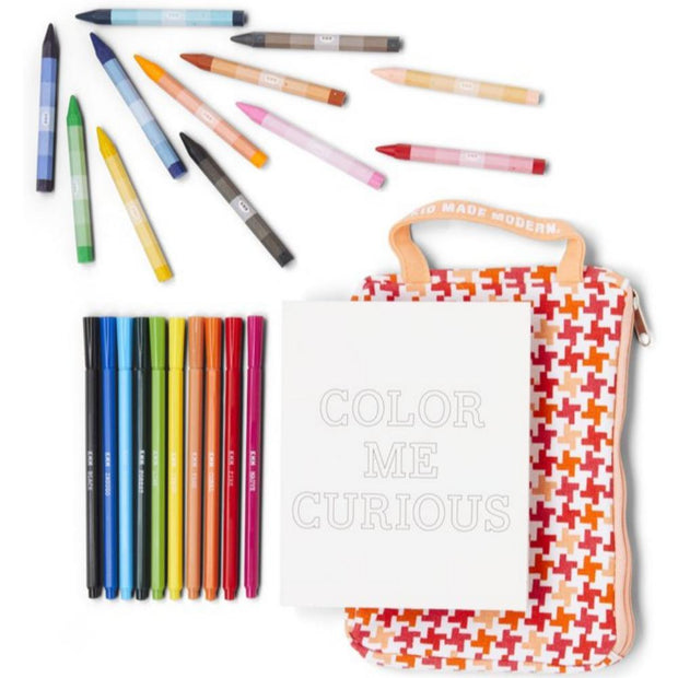 kid made modern on the go colouring kit