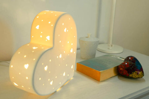 Light-Glow Heart Ceramic Lamp