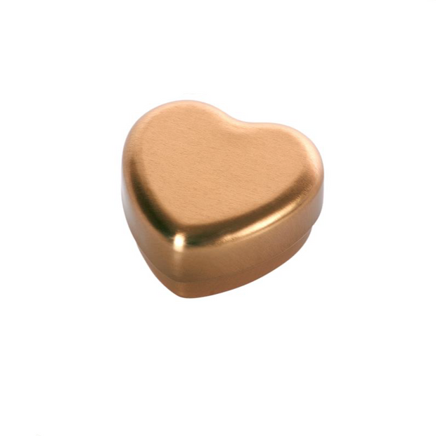 small maileg metal heart shaped box in gold