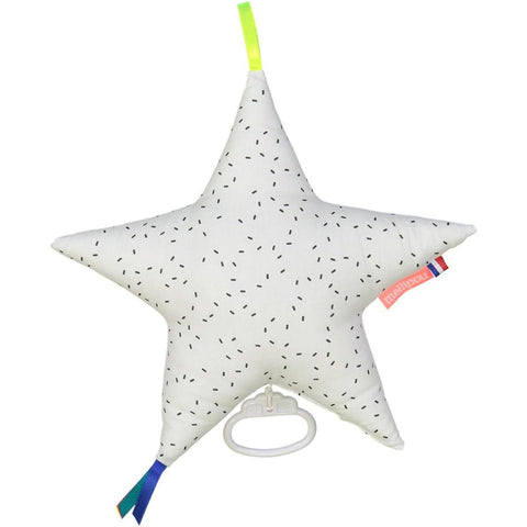 mellipou star shaped baby musical box in white