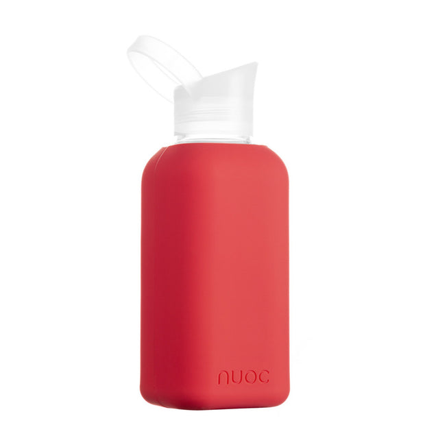 nuoc 500 ml glass water bottle with red silicone
