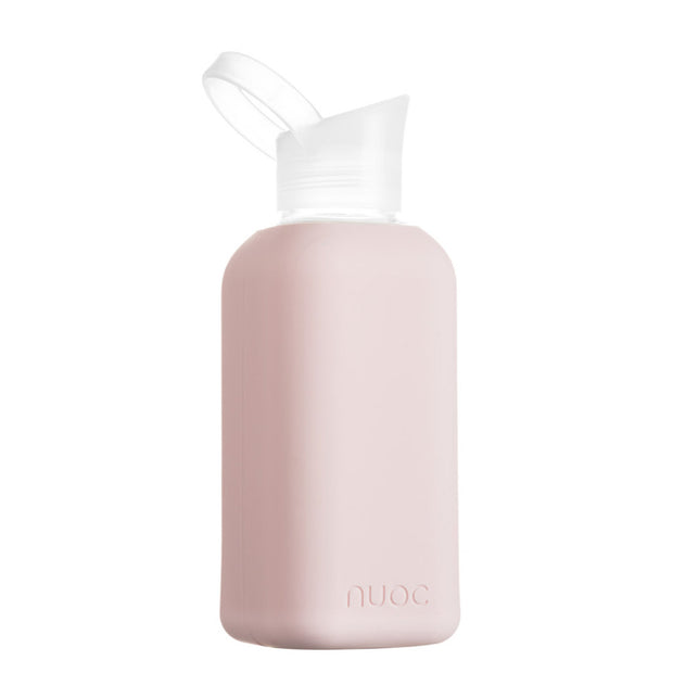 nuoc 500 ml glass water bottle with light pinksilicone