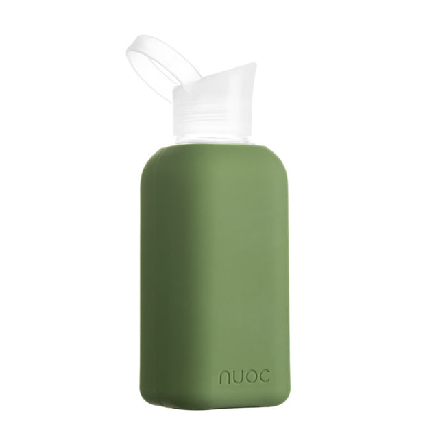 nuoc 500 ml glass water bottle with green silicone