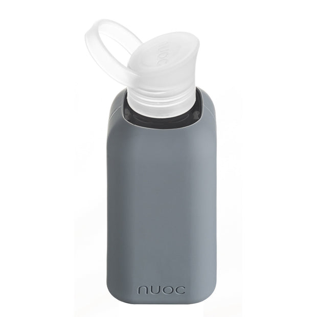 nuoc 500 ml glass water bottle with grey silicone