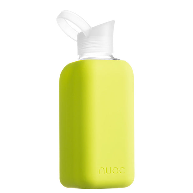 reusable 800 ml nuoc glass water bottle in avocado green