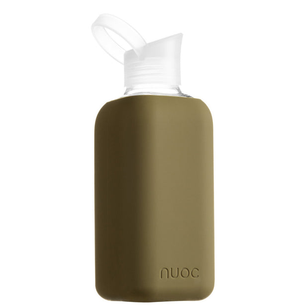 reusable 800 ml nuoc glass water bottle in khaki green