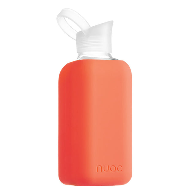 reusable 800 ml nuoc glass water bottle in neon orange