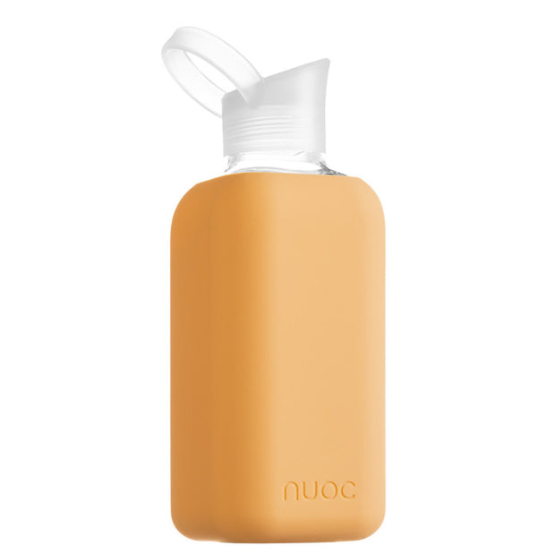 reusable 800 ml nuoc glass water bottle in orange