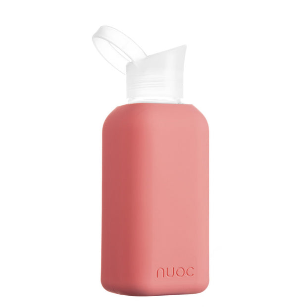 nuoc 500 ml glass water bottle with coral pink silicone