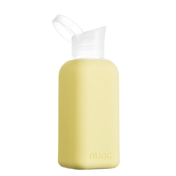 nuoc 500 ml glass water bottle with light yellow silicone
