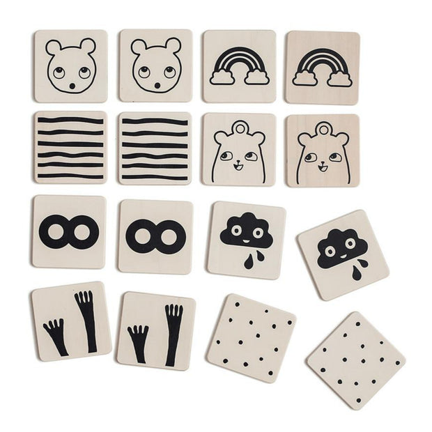ooh noo wooden memory game with 8 pairs for kids