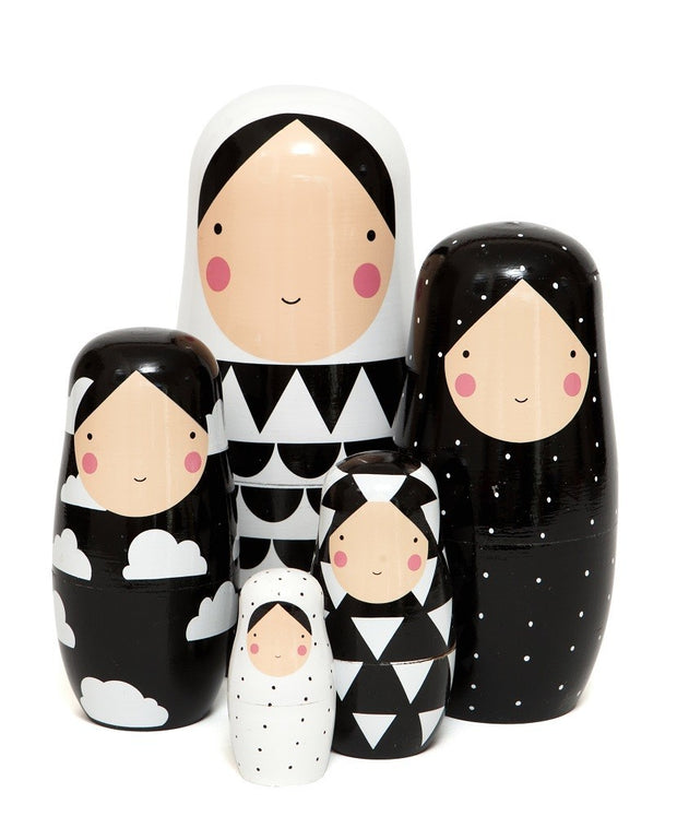 Petit Monkey Nesting Dolls XL - Black & White