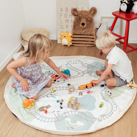 Play & Go 2 in 1 Storage Bag and Playmat - Fantasy Train Map