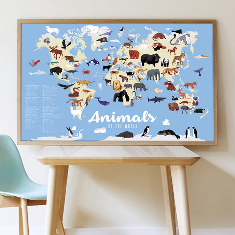 Poppik Discovery Sticker Poster Animals of the World framed