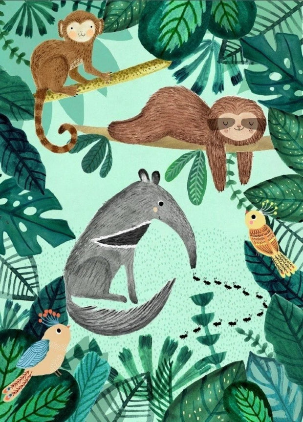 Petit Monkey Postcard - Anteater and Sloth