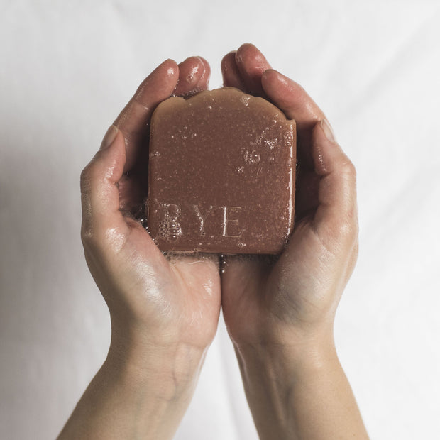 handwaashing with rye botanicals handmade soap
