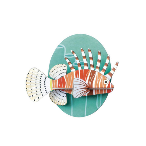 studio roof 3d cardboard lionfish wall decoration
