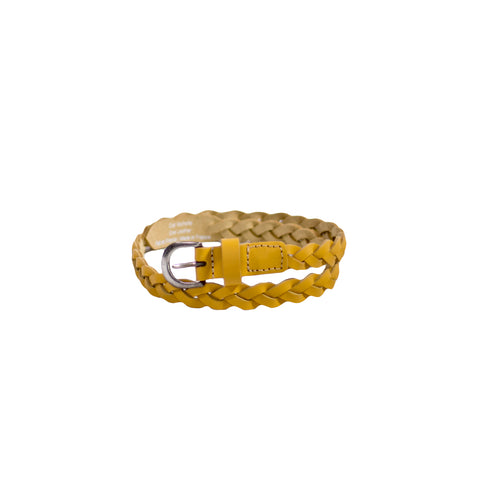 sunchild girls Lucia yellow braided leather belt metal buckle