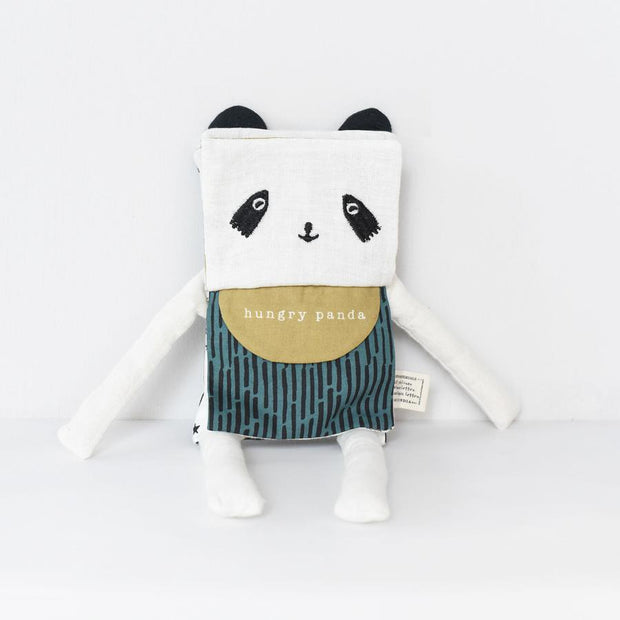 wee gallery organic cotton panda soft toy and book in one