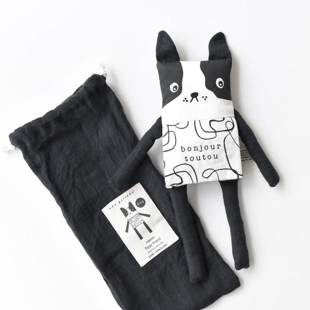 wee gallery organic cotton dog book and soft toy in one