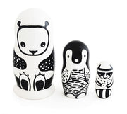 Wee Gallery Set of 3 Nesting Dolls - Black & White