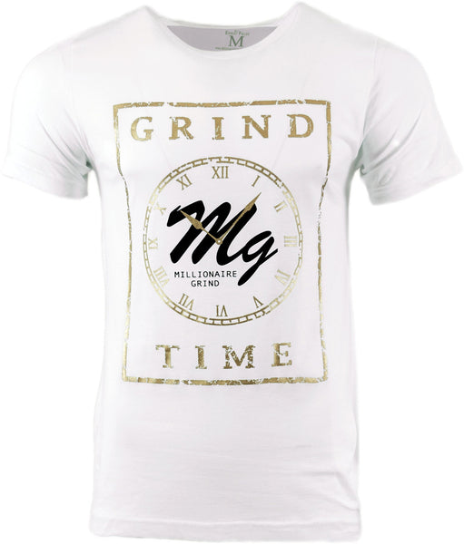 Grind Time Tee - (White / Black / Gold)
