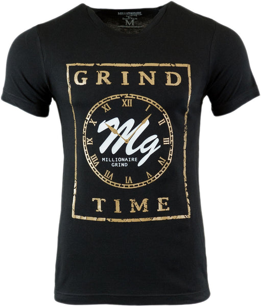 Grind Time Tee - (Black / White / Gold)