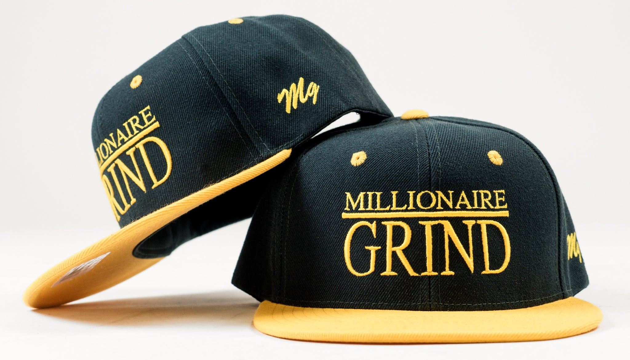 Millionaire Grind Snapback - (Dark Green / Golden Yellow)