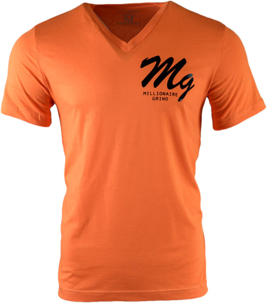 MG Logo V Neck - (Orange / Black)