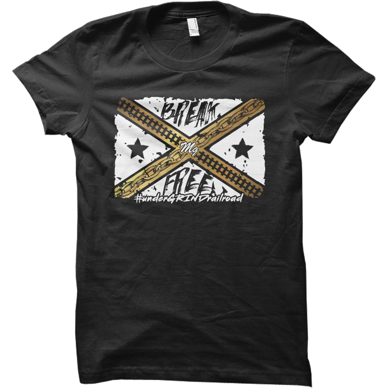 Break Free Flag Tee - (Black / White / Gold)