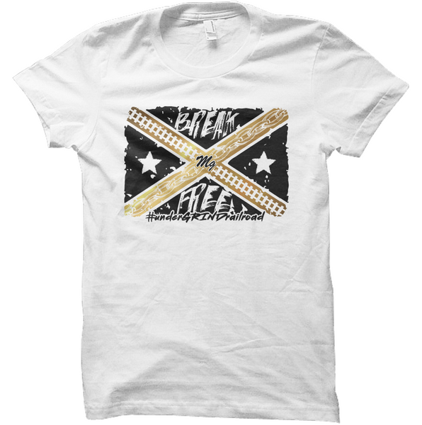 Break Free Flag Tee - (White / Black / Gold)