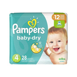 Pampers Baby Dry Pañales Etapa  4  x 28 Unidades