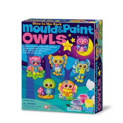 Manualidades Mould & Paint Glow Owls 4M