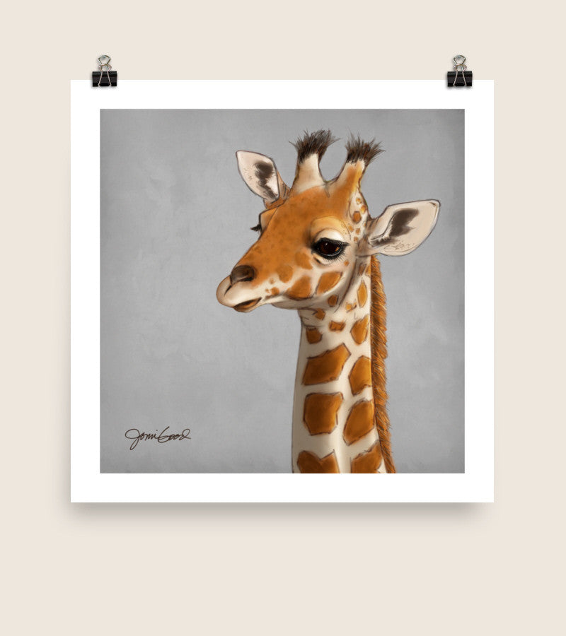 I had so much fun painting this baby giraffe, with his big warm eyes and slightly goofy expression. Baby Giraffe Giclee Print in three sizes - https://jonnigood.com