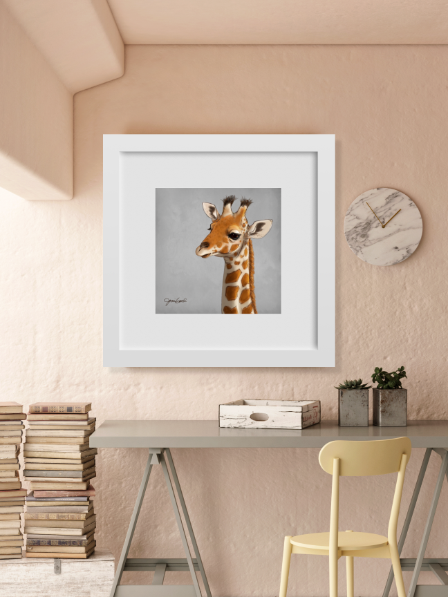 How the baby giraffe might look in a white frame and mat. For display only - the frame is not included.