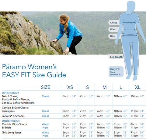 Paramo Women's 'Easy Fit' Size Guide