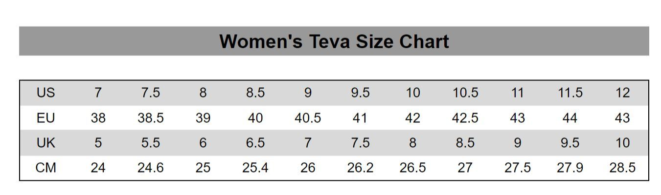 Teva Size Guide Outback Trading