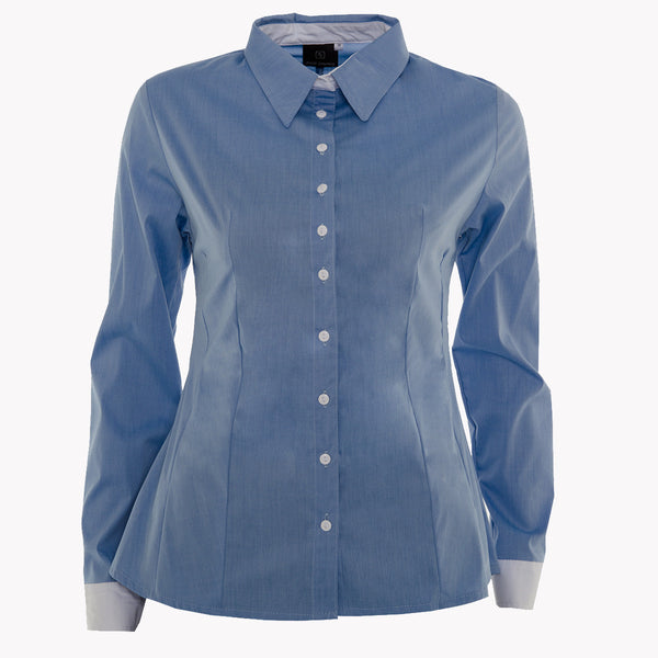 Lightweight chambray fitted shirt with white collar stand and cuff (Standard or Longer sleeve length)