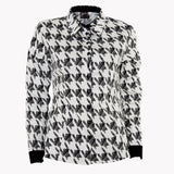 Stretch cotton hounds-tooth fitted shirt (Standard or Longer sleeve length)