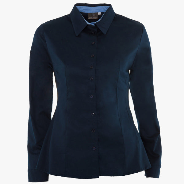 Elegant navy shirt with contrast collar stand(Standard or Longer sleeve length)