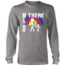 Man Up! B There Man With Child Under Rainbow Men's Long Sleeve - ManUp!Series